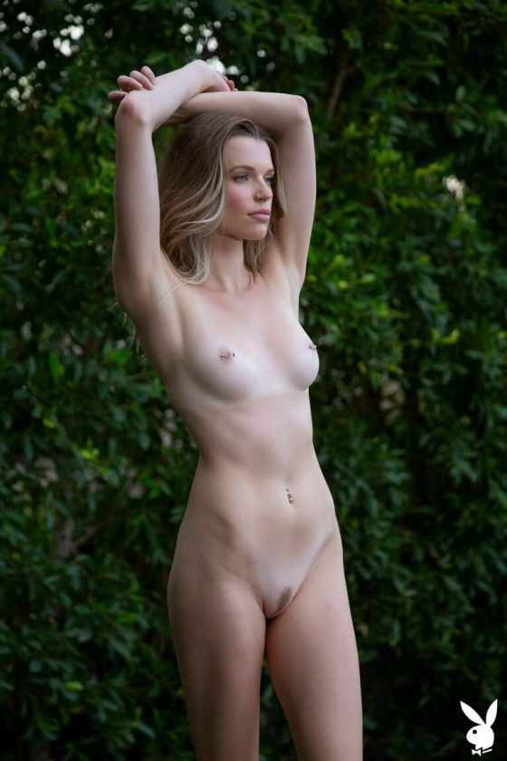 Hot Playboy model nude small tits and slender body pic 5