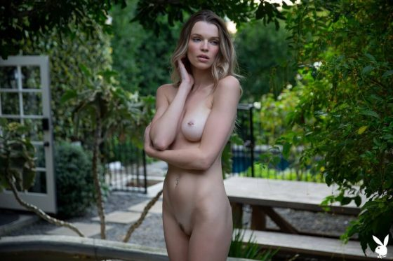 Hot Playboy model nude small tits and slender body pic 8