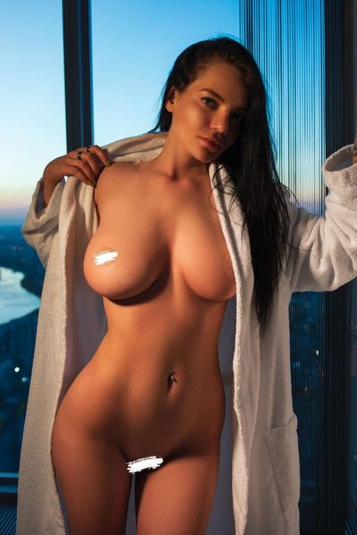 Sensual nude model with big boobs and shapely hot body (shot)