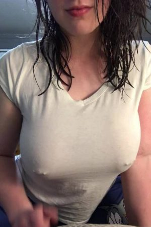 sexy wet girl big tits with pierced nipples in braless white blouse
