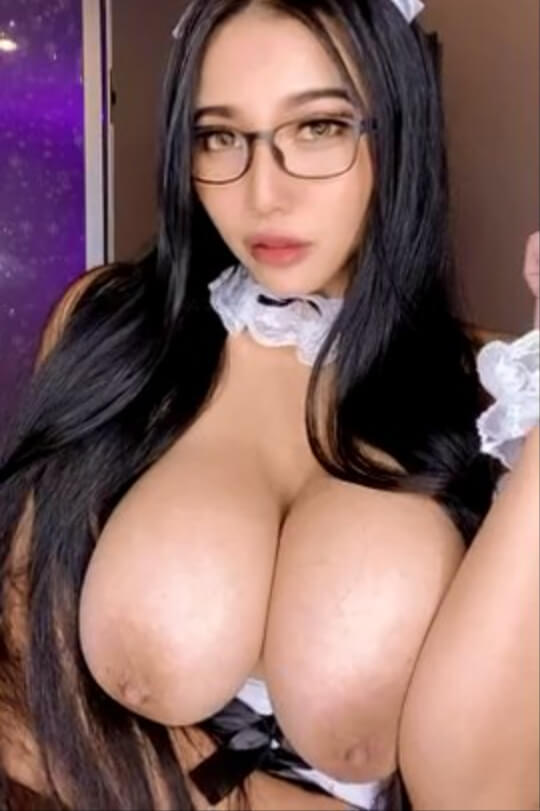 Would you hire this busty Asian maid? (gif)