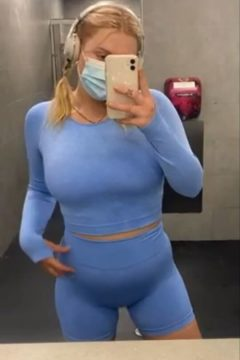 blonde chick drops her large breasts in the mirror selfie