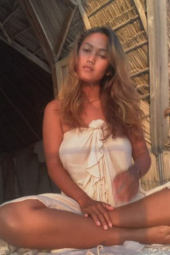 Exotic tits exposed outdoors (gif)