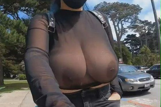 Delectable boobies walking in public outdoors (gif)