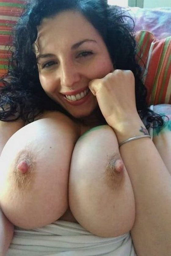 Luscious tits with big nipples in front of you! (gif)